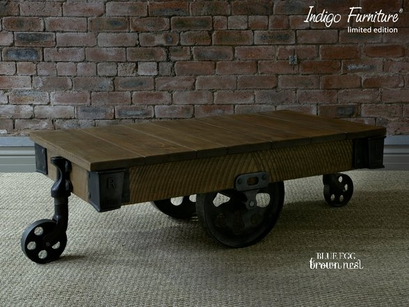 industrial style coffee table with wheels 2