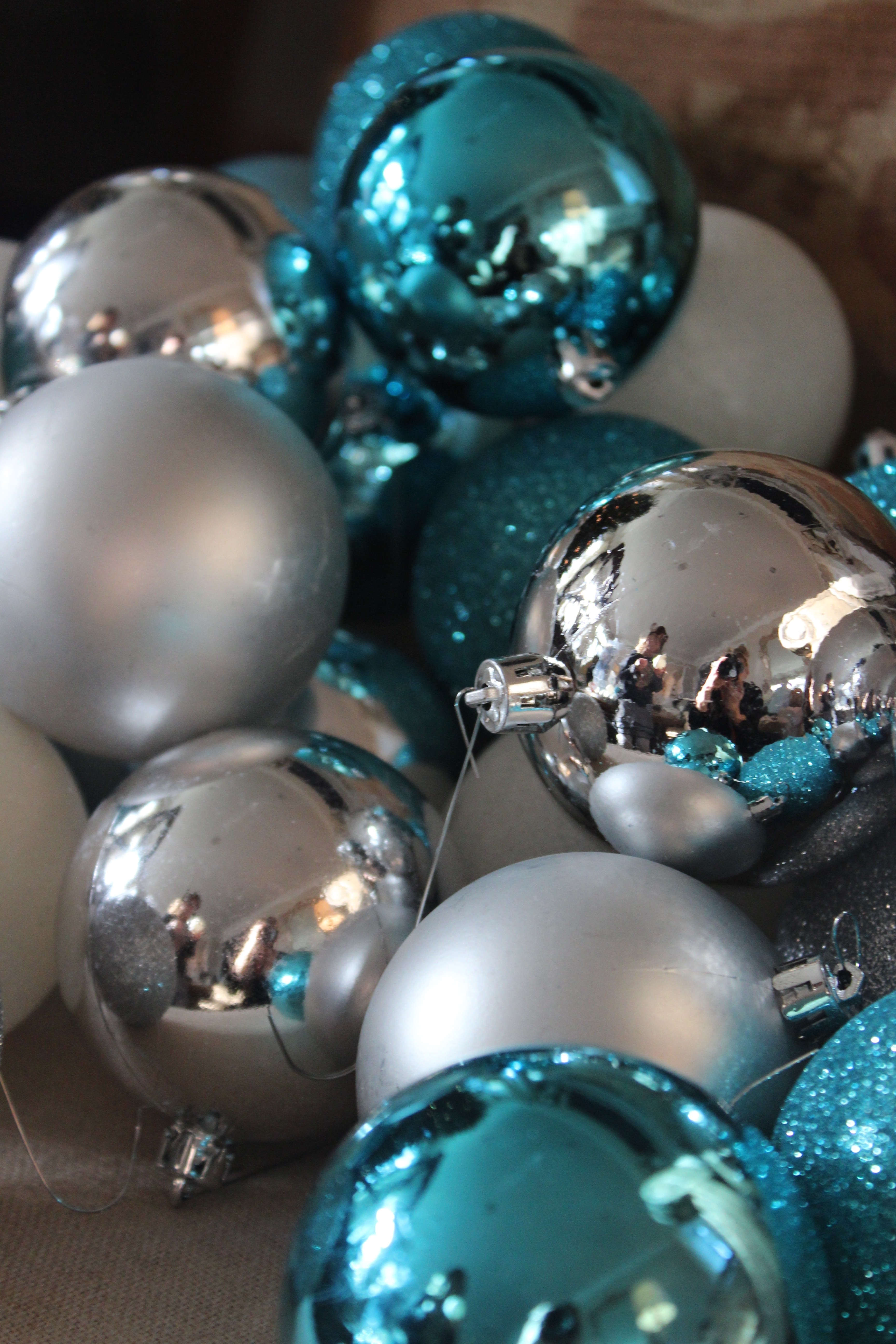 i bought turquoise balls from target blue burlap ribbon and dug out all my blue ornaments i also took out my duck egg blue paint and paintbrush - Duck Egg Blue Christmas Decorations