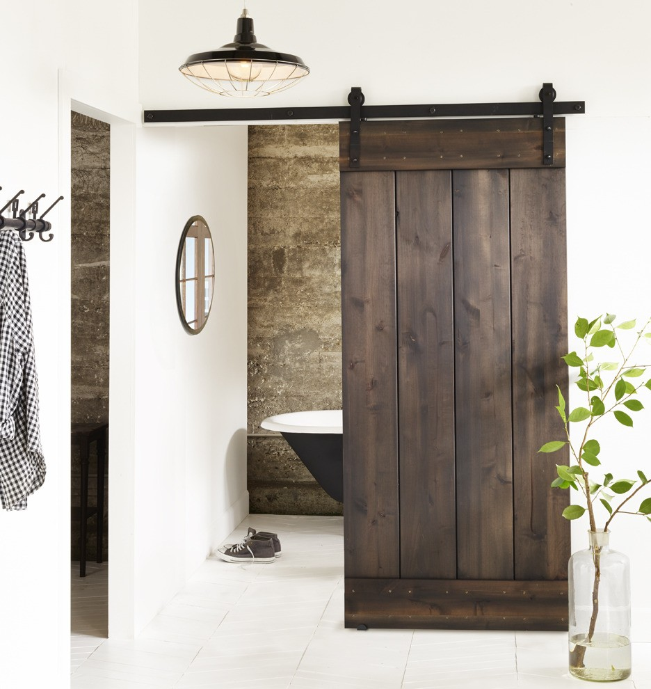 Favorite things friday barn door track kit for Bathroom entrance doors